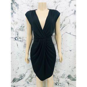 Suzy Shier Deep V-Neck Gathered Waist Midi Dress
